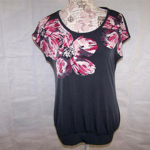 Outback Red Top Shirt S Cap Sleeves Stretch Floral